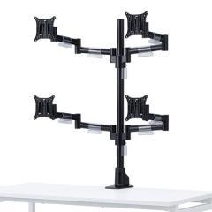 マルチモニタアーム(耐荷重各8kg・4面・水平可動・クランプ/グロメット式)