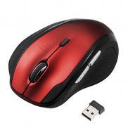 静音マウス(ワイヤレス・エルゴノミクス・人間工学・中型・6ボタン・DPI切替・レッド)