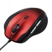 静音マウス(有線・エルゴノミクス・人間工学・中型・6ボタン・DPI切替・レッド)