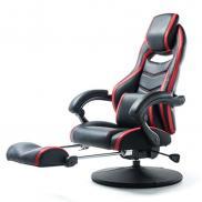 オットマン付ゲーミング座椅子(収納式オットマン・160度無段階リクライニング・360度回転・ハイバック・ヘッドレスト・耐荷重100kg)